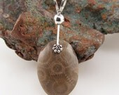 Michigan Petoskey stone pendant with sterling silver 9649