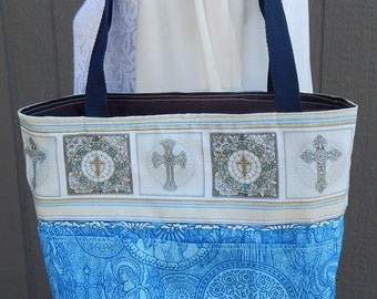 Tote, Bible Bag, Handmade Angels and Crosses Tote, Fabric Bag, Christian Tote, Blue and Gray Fabric Tote, Stained Glass Crosses, ,Jesus Bag