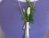 Beautiful Wearable Silver Flower Bud Vase Necklace (#17)