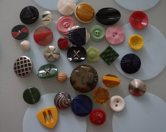 Radical 33 Piece Lot of Assorted 1980's Vintage Buttons- All Shapes & Sizes