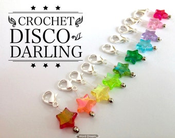 Crochet Stitch Markers snag free - DISCO DARLING