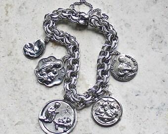 Mothers and Children...Vintage Rhythm Sterling Silver Catholic Medal Bracelet