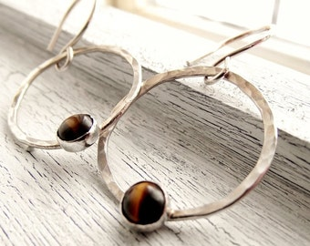 Yellow Tiger Eye Earrings, Sterling Silver Hoop Earrings, Tirger Eye Gemstone Earrings, For Women