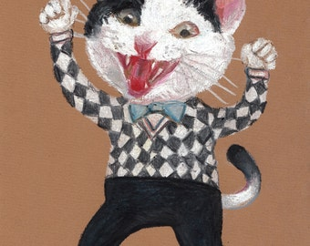 Great mood cat  - ORIGINAL ILLUSTRATION / cats drawing pink and red  / Colored pencil drawings / lady cat art