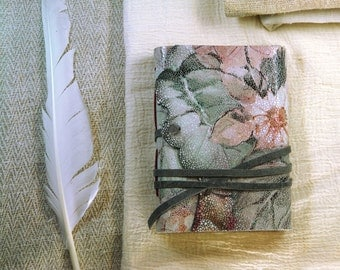 floral leather journal, vintage style journal, notebook, diary, Little Garden