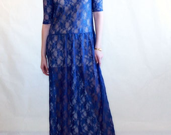 Lace dress, Royal Blue, Maxi dress, see trough lace dress , low waist dress, party, formal, evening