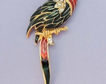Enamel Parrotl Brooch / Vintage Parrot Brooch / Enamel Rhinestone Parrot Brooch / Large Parrot Brooch / Parrot Jewelry / Bird Jewelry