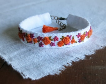 Bright Floral Bracelet, Fabric Cuff Bracelet, Orange Purple White, Gift Under 50, Gift For Her, Ooak Jewelry, Handmade Jewelry, Boho Cuff