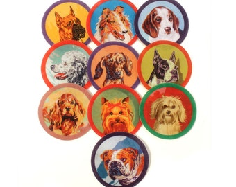 Paint by Number Dog, Wool Felt Patch, sold seperately, iron on, sew on, Boston, Collie, Poodle, Beagle, Yorkie, Dane, Bulldog, Lhasa