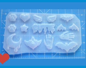 SALE Deluxe Mulit cavity Pastel Goth Pallet #1  Flexible Plastic Handmade Resin Mold