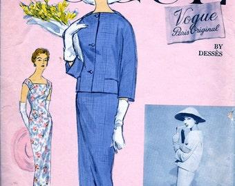 RARE * Vogue Paris Original Jean Desses Designer  Pattern 1371 - Beautiful  Evening Cocktail Dress and Jacket  * Size 10..bust 31
