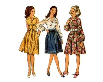 1970s Dress Pattern Shirt Dress Full Skirt Notched Collar Sleeveless Full Sleeve Day Dress Vintage Sewing Pattern Simplicity 9152 Bust 32