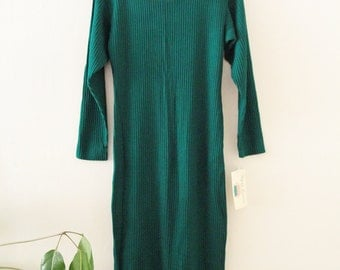 80's Forest Green Ribbed Long Dress