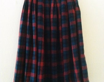 80's Plaid Midi Skirt