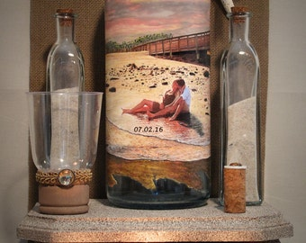 Personalized Unity Sand Ceremony Bottle With Your Photo and Hand Painted Embellishment, Wedding or Engagement Gift, Beach Theme Decor