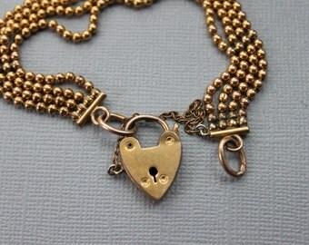 Antique Padlock Gate Bracelet / Victorian Sweetheart Bracelet