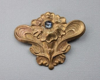 Large Art Nouveau Floral Sash Pin / Antique Mirror Paste Coat Brooch