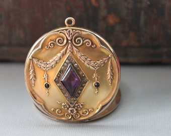 Massive Antique Paste Locket by Wightman and Hough / French Art Nouveau