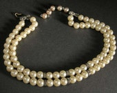 Art  Deco Pearl Necklace, Double Strand Pearl Necklaces/Choker w/ Rhinestones, Faux Pearl Necklaces, Vintage 40's Jewelry, Elegant Pearls