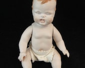 """Vintage Porcelain 8""""Jointed Baby Doll w/ Diaper USA ONLY"""