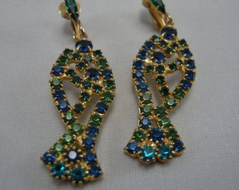 Vintage Marquis Emerald Green and Blue Crystal  Dangle Fish Earrings,Fish Designed Earrings, Beautiful Crystal Earrings, **USA ONLY**