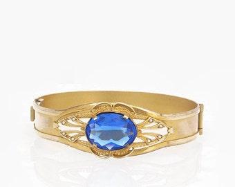 Blue Rhinestone Bangle Bracelet Gold Filled Bangle Victorian Bracelet