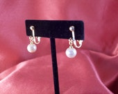 Bridal Faux Ivory Pearl Drop Gold Clip Earrings