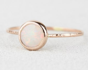 Natural AAA Opal Ring - Solid 14k Rose or Yellow Gold Simple Stack Ring with a Genuine Fiery Australian White Opal - October Birthstone Ring