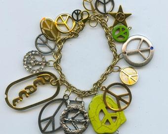Peace Symbol Theme Charm Bracelet Handmade Recycled Items