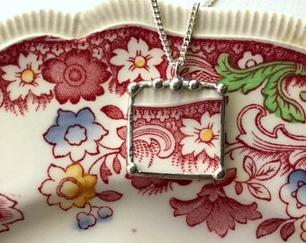 Broken china jewelry pendant necklace antique red toile English transferware made from a broken plate