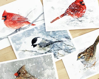 Winter Birds Holiday Card Set - 10 cards, Watercolor winter holiday stationery