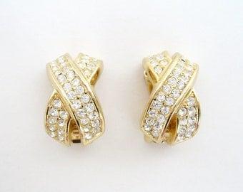 Christian Dior Clear Rhinestone Gold Tone X Earrings 20 mm x 12 mm