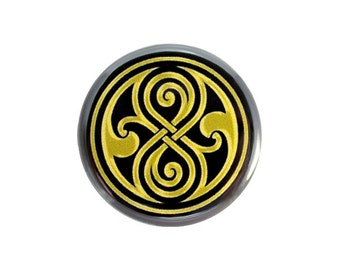 "Seal of Rassilon Button, Gallifrey Symbol,  Doctor Who Fan Badge, Whovian Badge,  Pinback Button, 1.25"" Button - X10"