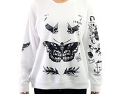 Harry Tattoos Sweatshirt Gray White Sweater Crew Neck Shirt – Size S M L XL