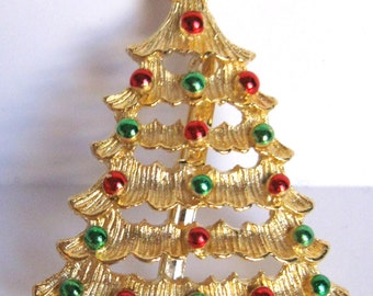 Vintage Signed Red & Green Ball Golden Christmas Tree Pin
