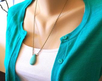 In Harmony - Statement Necklace - Wire Wrapped Howlite Gemstone - Antiqued Brass Chain - Handmade Keepsake Jewelry by HoneyNest