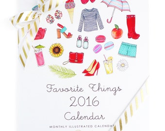 50% Off! Favorite Things 2016 Illustrated Monthly Desk Calendar