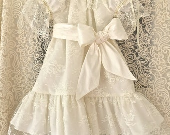 Vintage Inspired Lace Overlay Girl Special Occasion Flower Girl Dress with Silk Sash