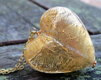 Murano Glass Heart Necklace, Gold Foil Venetian Heart Necklace, Glass Heart Layering Necklace, Gold Chain, Valentine Gift, Hero Accessory