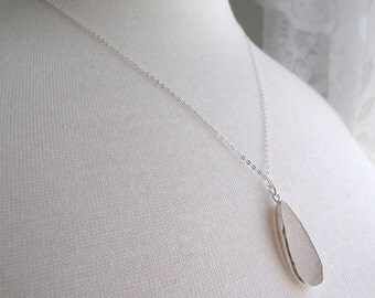 Long White Teardrop Agate Drusy Necklace, Sterling Silver Necklace, Druzy Jewelry OOAK, 20 inch silver chain