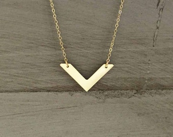 Gold Chevron Mixed Metals Necklace Silver Rose Gold V Necklace