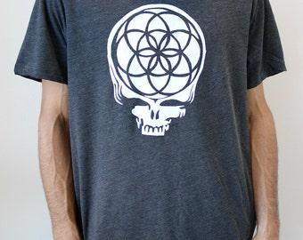 XXL Mens XL Grey Seed of Life Stealie T-shirt