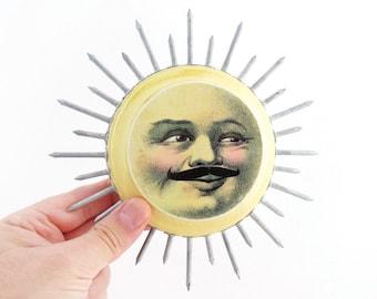 SUN with a mustache Assemblage - Sun Art Mixed Media Art - Moustached Sun Wall Art