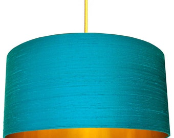 Aqua Indian Silk Dupion Lampshade With Gold or Brushed Copper Lining
