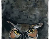 Art print Night owl, bird art, woodland art print, Halloween art, wild life, owl watercolor print, hoot, gift for him, black night sky art
