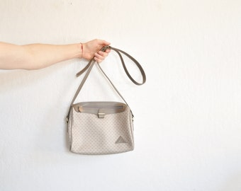 putty gray Liz Claiborne shoulder purse . classic tan leather handbag .sale s a l e