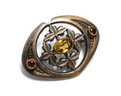 Arts and Crafts Style Citrine Glass Pin