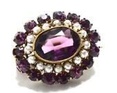 Victorian Amethyst Purple Glass & Pearl Collar Pin