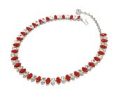 Holiday Red & Clear Rhinestone Necklace