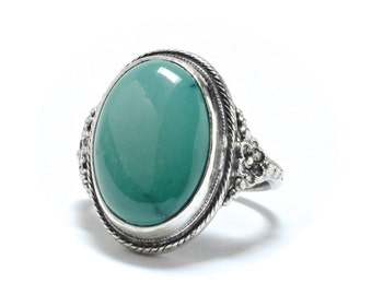 Art Deco Sterling & Turquoise Ring - Size 4